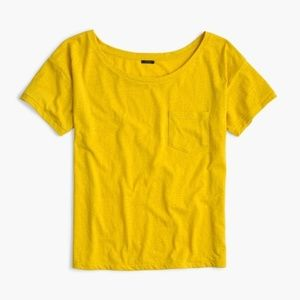J.CREW Mustard Relaxed Boat Neck Tee M